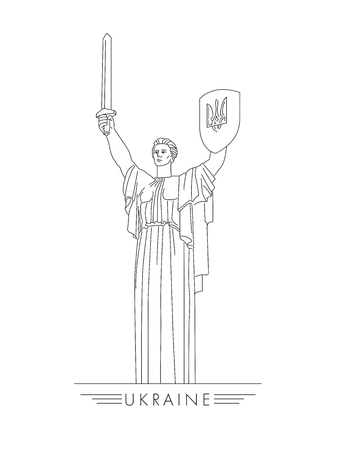 motherland statue in Kyiv Ukraine, graphic linear illustration