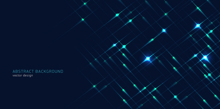 Abstract background with bright geometric stars neon glowing on dark backround