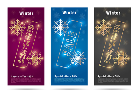 winter flyers with stylized percent sign with snowflacks, vip premium segment