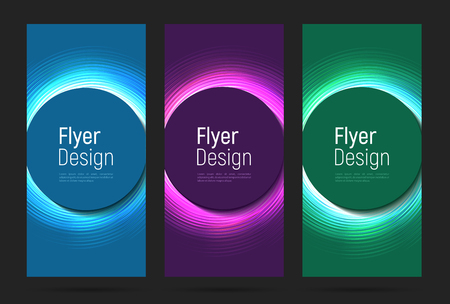 set of flyers with glowing neon in three colours