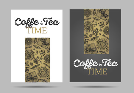 coffee time and tea posters with hand drawn vintage graphic