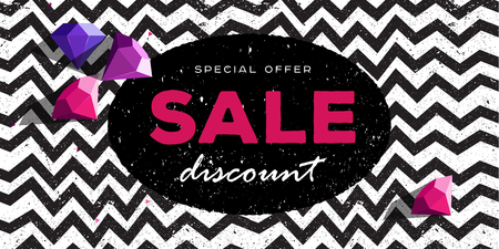 Special offer discount poster with zig zag pattern background and dimonds rocks top view, modern geometric advertising print