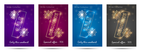 Winter discounts posters with percent sign and snowflackes, premium segment