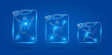 Canister linear illustrations, set of three different icons, premium segment, glowing lines