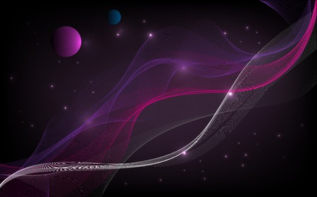 Abstract background of space with wavy lines and planets and stars Ilustração