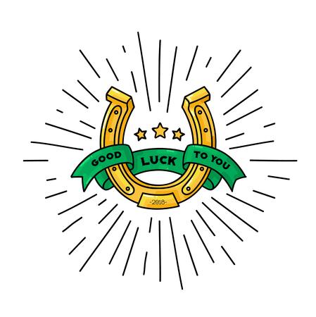 Glückssymbol, Hufeisenvektorillustration mit Band für Text for