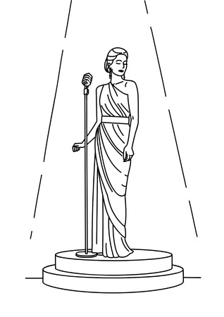 Linear illustration of female singer on stage in spotlight with retro microphone