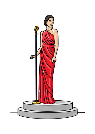 Gorgeous singer woman in red dress with retro microphone, perfoming on stage  イラスト・ベクター素材