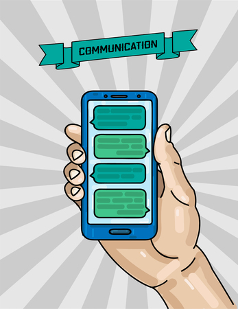 digital illustration of man s hand holding cell phone in grey background with text communication on a ribbon