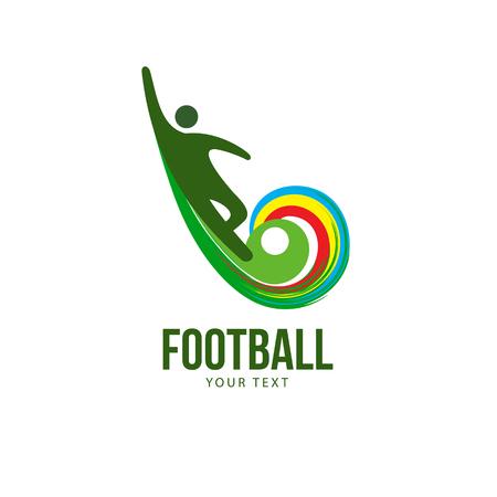 Stylized football soccer logotype, the happy winner