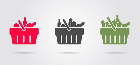 Food basket from supermarket, set of three pictograms filled with different goods Illustration