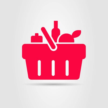 supermarket basket of food, grocery shopping, red label sign pictogram Illustration