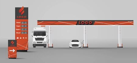 Detailed vector modern flat design illustration of the gas or petrol filling station. with road sign and prices stella and car and wagon on it refuelling