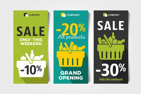 Flyers set for grocery store with shopping basket pictogram full of meal goods, simple modern graphic leaflet with percentage discount up to 10, 20 and 30 per cent, event advertising Stock Illustratie
