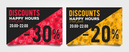 Happy hour discount cards with fast food pattern and percentage