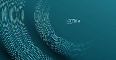 Futuristic geometric lines in half circle shape abstract background in blue colours Illusztráció