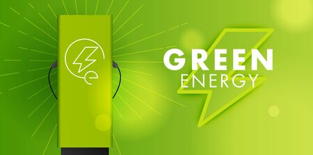 Electro power, green energy symbol and charging station with logo on modern backdrop