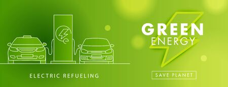Electro power, green energy symbol and linear electro cars on charge on charging station illustration