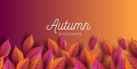 Autumn fall discounts banner layout with autumn leaves Illusztráció