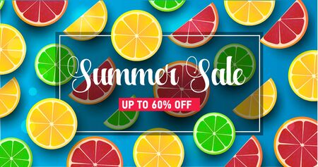 Summer background with citrus slices on orange backdrop, modern realistic graphic with fruits: orange, lemon, laim, grapefruit