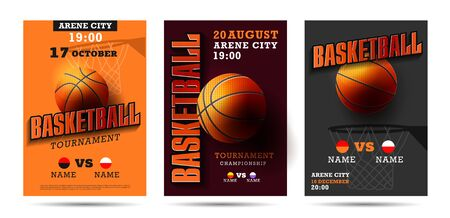 Set of basketball posters with basketball ball. Basketball Playoff advertising. Sport event announcement. Vektorové ilustrace