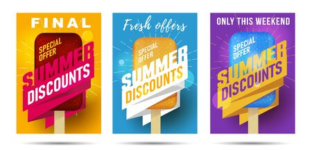 Set of posters for Hot summer final sale offer with ice cream Illusztráció