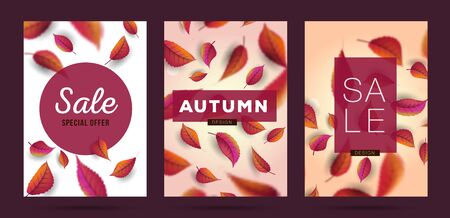 Set of Autumn Posters or covers with falling leaves texture backdrop, brochure or magazine cover with modern 3d texture