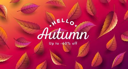 Autumn sale digital poster in red tones, banner sale advertising with red and orange leaves falling, 3d prspective graphic
