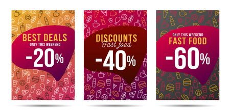 Set of flyers with fast food linear icons pattern, with discount on the speech bubble