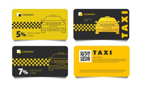 Set of discount cards templates for taxi service
