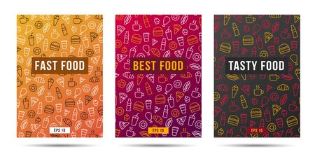 Set of brochure cover with fast food and drinks pattern in three options