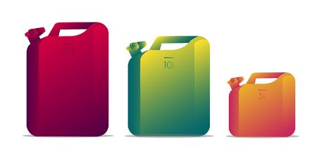 Set of Blank Oil Jerrycan Canister Gallon, gradient modern illustration, Isolated objects Çizim