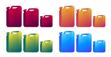 Set of different literage canisters in four gradient colours
