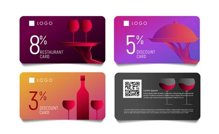 Gift voucher or discount card for premium luxury restaurant with modern gradient graphic of food and wine Ilustração