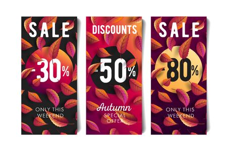 Autumn fall sale flyers set with percentage discounts and coloured leaves
