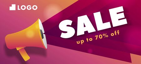 Discount sale advertising poster with modern bright graphic elements and megaphone
