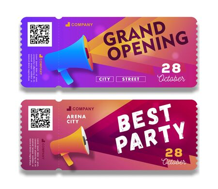 Grand Opening and Party invitation tear-off flyer templates with megaphone illustration Stock fotó - 132443445