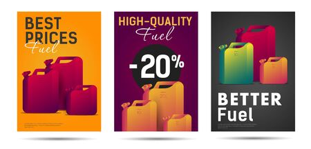 High-quality fuel sale advertising posters or flyers with oil canisters Illusztráció