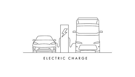 electric charge station with electric car and van charging from the station, linear illustration Illusztráció