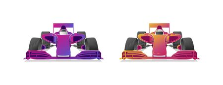 Racing bolides sport cars, modern graphic gradient illustrations in two colours