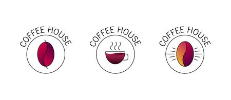 Set of logos for coffee shop or cafe, simple linear hipster graphic with gradient
