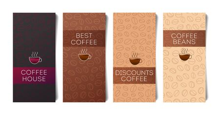 Set of flyers for coffee shop or cafe with coffee beans pattern on the backdrop and coffee mug, cover template