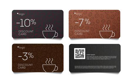 Coffee discount coupon voucher cards with line coffee beans pattern and cup, set of cards front and back Vectores