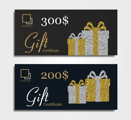 Gift certificate for premium segment with gold and silver gift boxes and dollar discount