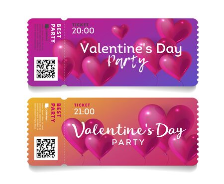 Valentines Day torn off tickets, invitation template to love party with pink hearts in shape of baloons