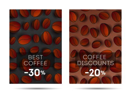 Set of flyers for coffee shop or cafe with coffee beans 3d pattern on the backdrop, cover template