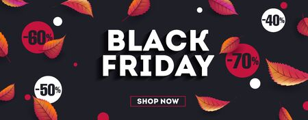 Black Friday sale poster with typography and discounts in red and white circles flying with autumn leaves, web banner template Illusztráció