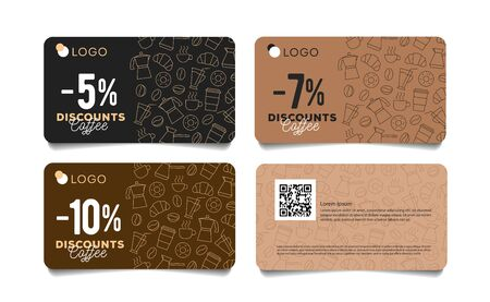 Discount card or voucher with line pattern of coffee beans, cups and breakfast food Illusztráció
