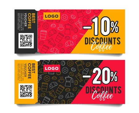 Promotion event admission tickets with torn off part, coffee beans cups and breakfast food pattern and discounts Illusztráció