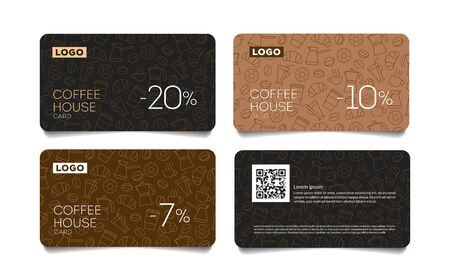 Discount card or voucher for coffee house with line pattern of coffee beans, cups and breakfast food